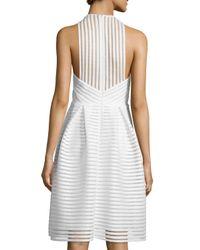 Carmen Marc Valvo - White Sleeveless Textured-mesh A-line Dress - Lyst
