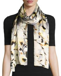 Vince Camuto | Gray Foliage And Bloom Silk Scarf | Lyst