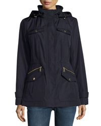 MICHAEL Michael Kors | Blue Hooded Zip-front Anorak Jacket | Lyst