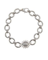 Lagos - Gray Pret-a-porter Small Fluted Link Bracelet W/ Pave Diamonds - Lyst