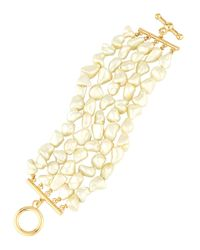 Kenneth Jay Lane - White Five-row Mother-of-pearl Statement Bracelet - Lyst