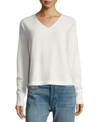 Vince | White Cashmere Long-sleeve V-neck Sweater | Lyst