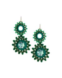Panacea | Green Crocheted Crystal Circle Double-drop Earrings | Lyst