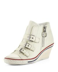 Ash | White Gin Bis Buckled Leather Wedge Sneaker | Lyst