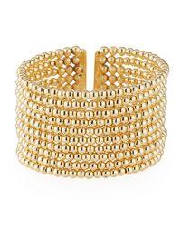 Kenneth Jay Lane Metallic Beaded 10-row Cuff Bracelet Golden
