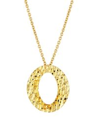 Roberto Coin - Multicolor 18k Textured Oval Pendant Necklace - Lyst