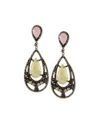 Bavna - Metallic Multicolored Sapphire & Diamond Teardrop Earrings - Lyst