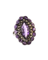 Bavna - Metallic Amethyst & Champagne Diamond Cocktail Ring - Lyst