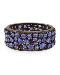Bavna - Blue Wide Tanzanite & Diamond Hinged Bangle Bracelet - Lyst