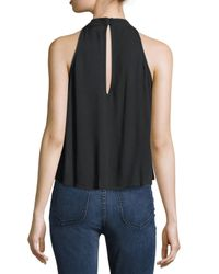 Band Of Gypsies Black Embroidered Mock-halter Top