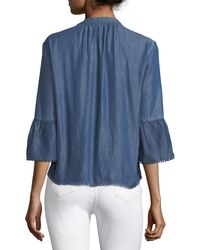Nanette Nanette Lepore Blue Bell-sleeve Chambray Top