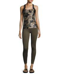 Koral Activewear Green Sling Camo-print Performance Tank