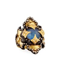 Armenta - Metallic Old World Large Iris Scroll Ring W/ Mother-of-pearl Triplet - Lyst