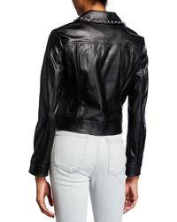 MICHAEL Michael Kors Black Studded Faux-leather Moto Jacket