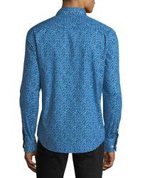 Bugatchi - Blue Classic-fit Scribble Sport Shirt for Men - Lyst
