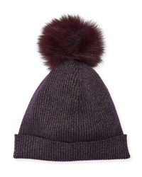 Neiman Marcus - Purple Metallic Knit Fur-pom Beanie Hat - Lyst