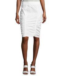 XCVI White Parisa Ruched Pencil Skirt