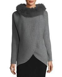 Neiman Marcus | Gray Cashmere Fur-trim Wrap Tunic | Lyst