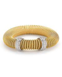 Alor Metallic Micro-cable Pave Diamond Spring Coil Bracelet Yellow 0.33tcw