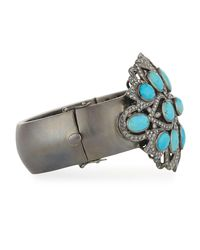Bavna - Blue Turquoise & Pave Diamond Bangle Bracelet - Lyst