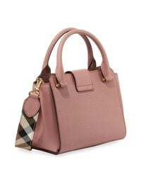 Burberry Pink Buckle Small Leather Tote Bag