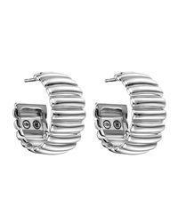 John Hardy - Metallic Bedeg Wide Sterling Silver Rippled Hoop Earrings - Lyst