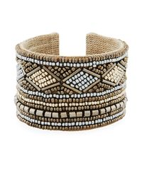 Nakamol - Gray Wide Mixed Seed Bead Cuff Bracelet - Lyst