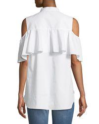 Vince Camuto - White Cold-shoulder Button-front Blouse - Lyst