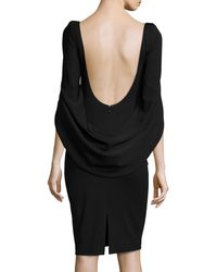 Talbot Runhof - Black Konica Cowl-back Ruched Cocktail Dress - Lyst