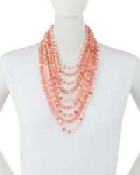 Lydell NYC - Pink Layered Multi-strand Beaded Necklace - Lyst