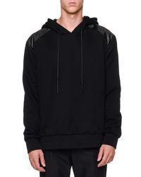 Juun.J - Black Faux Leather & Knit Hoodie for Men - Lyst