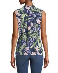 Karl Lagerfeld Blue Sleeveless Floral-print Pintucked Tie-neck Top