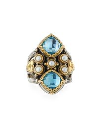 Konstantino - Blue Amphitrite Double Cushion Topaz & Pearl Statement Ring - Lyst