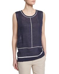 Vince - Blue Lace-insert Sleeveless Top - Lyst