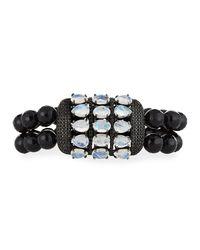 Bavna - Black Beaded Stretch Bracelet With Rainbow Moonstone - Lyst