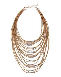 Fragments - Brown Multi-strand Cord Statement Necklace - Lyst