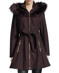Laundry by Shelli Segal - Black Faux Fur-trimmed Wool Car Coat - Lyst