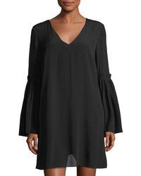 1.STATE - Black V-neck Bell-sleeve Swing Dress - Lyst