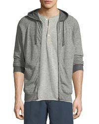 Billy Reid Gray Whit Heathered-knit Zip-front Hoodie for men
