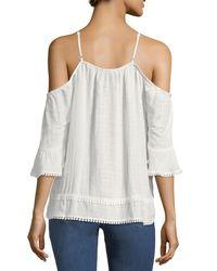 Nanette Nanette Lepore White Bell-sleeve Cold-shoulder Top