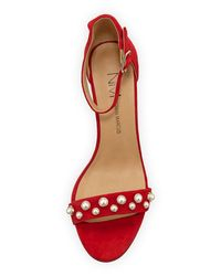 Neiman Marcus - Red Bamey Pearly-studded Suede Block-heel Ankle-wrap Sandal - Lyst