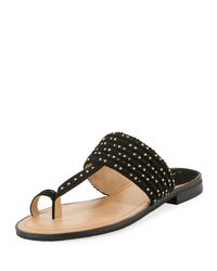 Tahari Black Studded Fabric Toe-ring Sandal