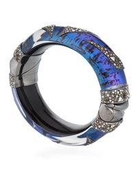 Alexis Bittar - Blue Crystal Encrusted Origami Hinged Bangle - Lyst