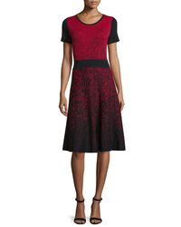 Carmen By Carmen Marc Valvo - Red Short-Sleeve Ombré Fit-and-Flare Jersey Dress - Lyst