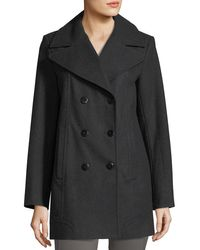 Marc New York | Gray Winnie Double-breasted Wool-blend Coat | Lyst