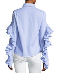 Luxe by Stylekeepers Blue Gone Rogue Ruffled Shirt