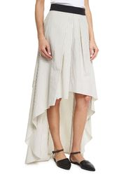 Brunello Cucinelli - Multicolor Striped High-low Maxi Skirt - Lyst