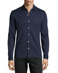 Luciano Barbera Blue Piqué Cotton Sport Shirt for men