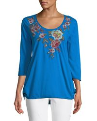 Johnny Was - Blue Tuscany 3/4-sleeve Trapeze Tee - Lyst