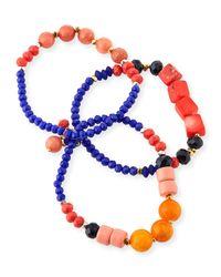Nakamol Blue Mixed Beaded Bracelets